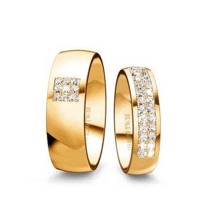 Trauringe Elisa - Gelbgold 585 - 0,35 crt - TW/SI