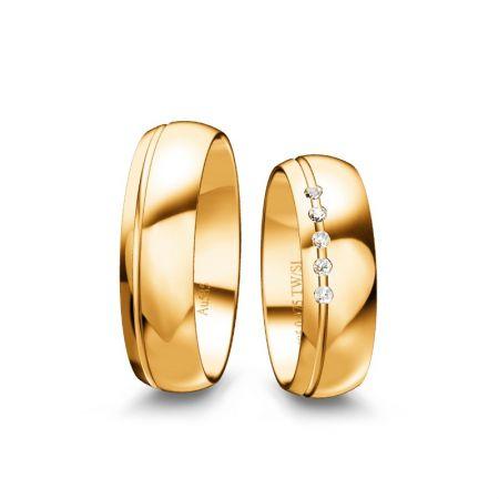 Trauringe hannah - Gelbgold 585 - 0,075 Crt - TW/SI