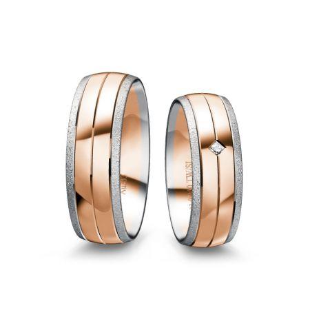 Trauringe Lynn II - Bicolor 333 - Rosé/Weiss - 0,040 Crt - TW/SI