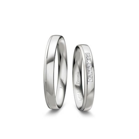 Trauringe Ela - Silber 925 - 0,035 Crt - Zirconia