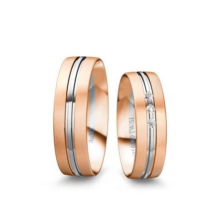 Trauringe Rafaela - Bicolor 585 - Rosé/Weiss - 0,060 Crt - TW/SI