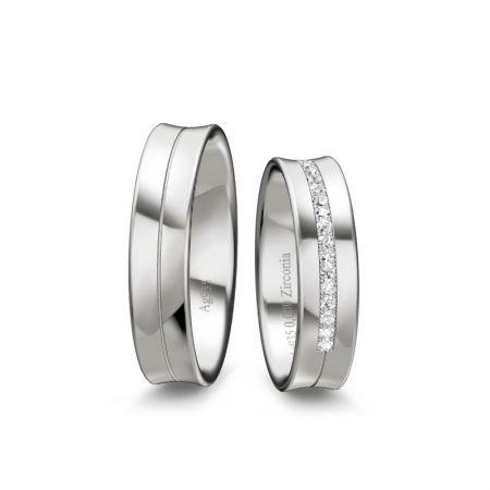 Trauringe Clara I - Silber 925 - 0,080 Crt - Zirconia
