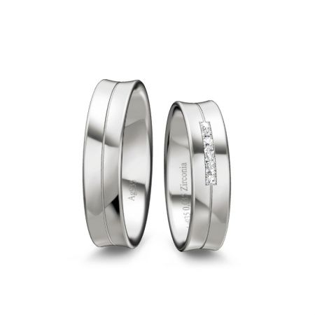 Trauringe Clara II - Silber 925 - 0,035 Crt - Zirconia
