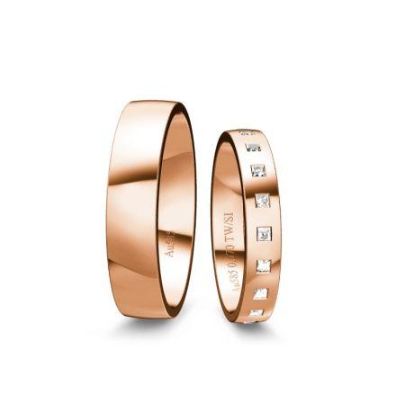 Trauringe Elli - Roségold 585 - 0,570 Crt - TW/SI
