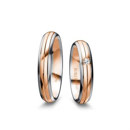 Trauringe Mina - Bicolour 585 - Weiss/Rosé - 0,030 Crt - TW/SI