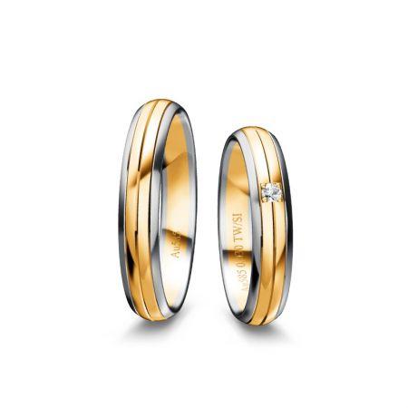 Trauringe Mina - Bicolour 585 - Weiss/Gelb - 0,030 Crt - TW/SI