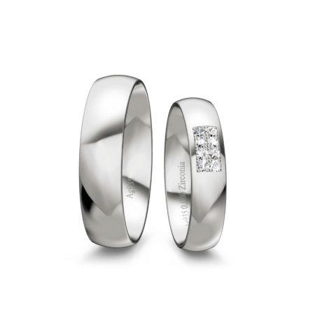 Trauringe Lucy II - Silber 925 - 0,080 Crt - Zirconia